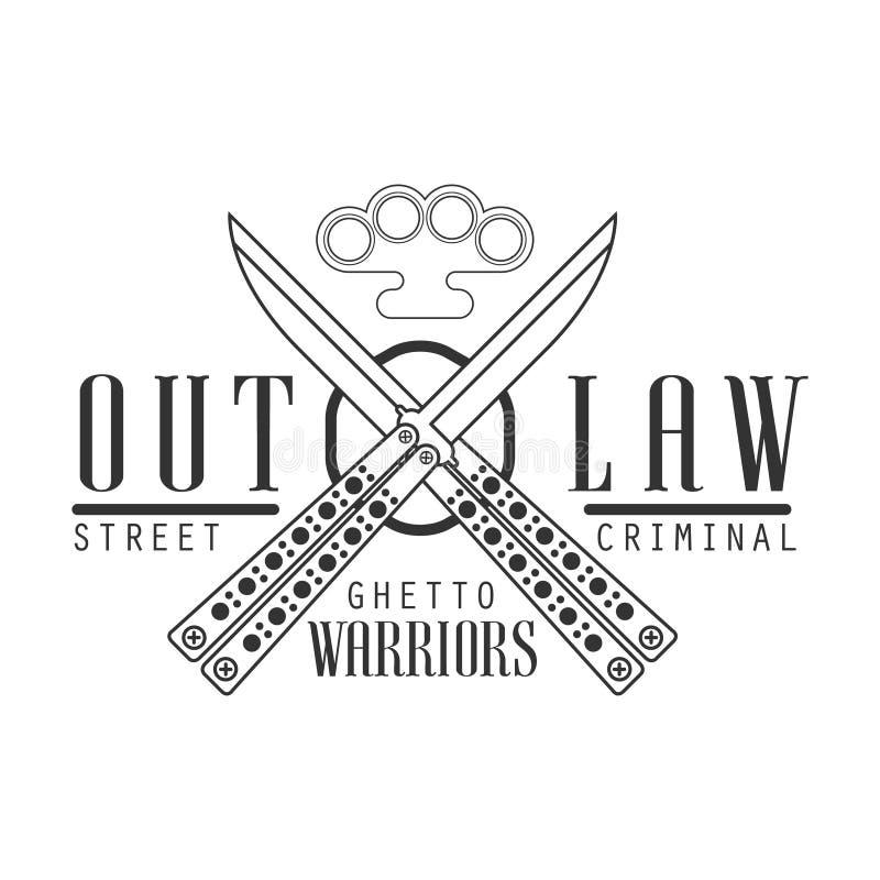 Calibre noir et blanc de conception de signe de club de rue proscrit par criminel avec le texte, les couteaux croisés de papillon illustration de vecteur