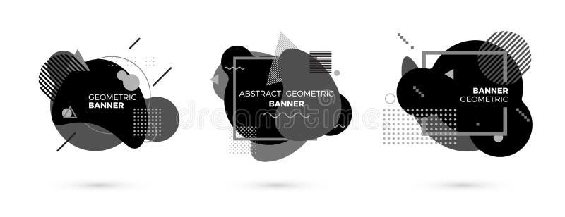 Calibre noir et blanc géométrique créatif de bannière Formes de gradient Éléments graphiques de Modert Illustration de vecteur d' illustration libre de droits