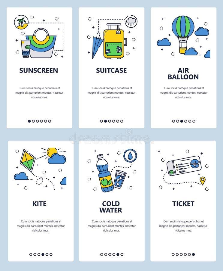 Calibre onboarding d'écrans d'art linéaire de site Web de vecteur Icônes de voyage, cerf-volant, ballon à air et billet d'avion B illustration de vecteur