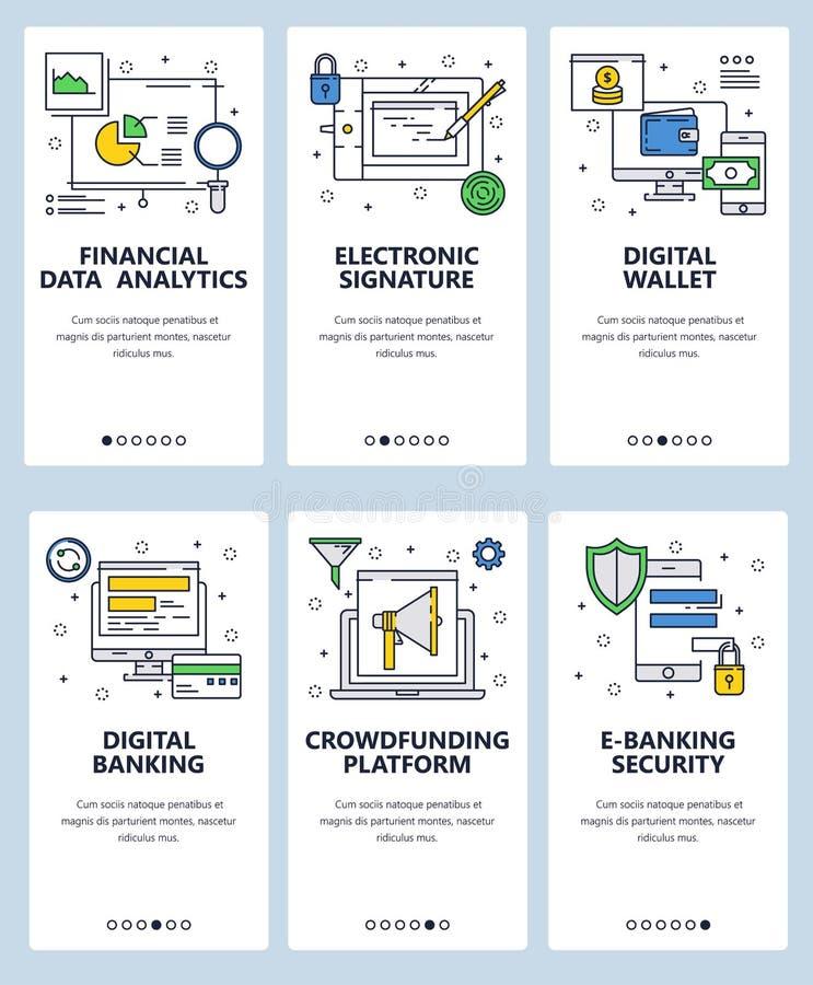 Calibre onboarding d'écrans d'art linéaire de site Web de vecteur Opérations bancaires de Digital et transfert d'argent en ligne  illustration stock