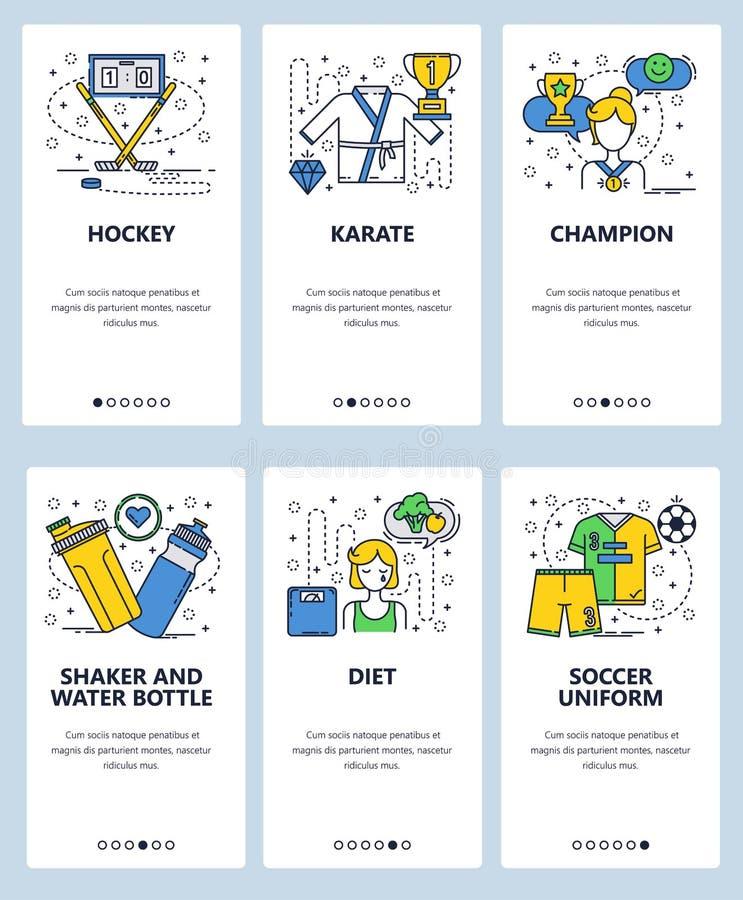 Calibre onboarding d'écrans d'art linéaire de site Web de vecteur Sport professionnel, hockey sur glace, karaté, le football Régi illustration de vecteur