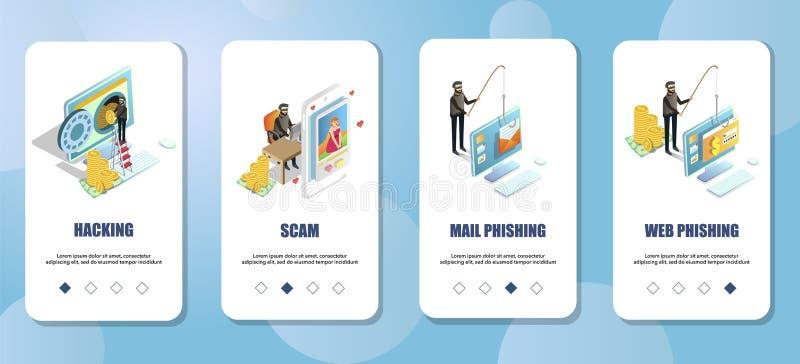 Calibre onboarding de vecteur d'écrans d'appli mobile de crimes de Cyber illustration stock
