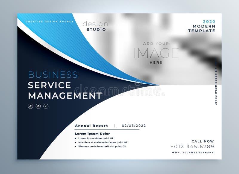 Calibre onduleux bleu de page de couverture de brochure ou de magazine d'affaires illustration libre de droits