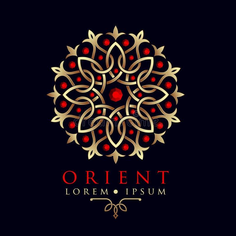 Calibre oriental de logo de modèle de l'Asie de dessin géométrique illustration libre de droits