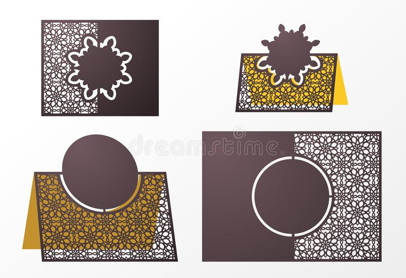 Calibre ornemental de vecteur coupé par laser Nombre libre de table, illustration stock