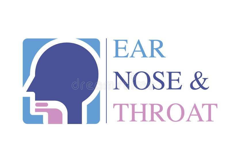 Calibre OTO-RHINO de logo Dirigez pour l'oreille, nez, spécialistes en docteur de gorge Logo Concept ligne icône de vecteur Cours illustration libre de droits