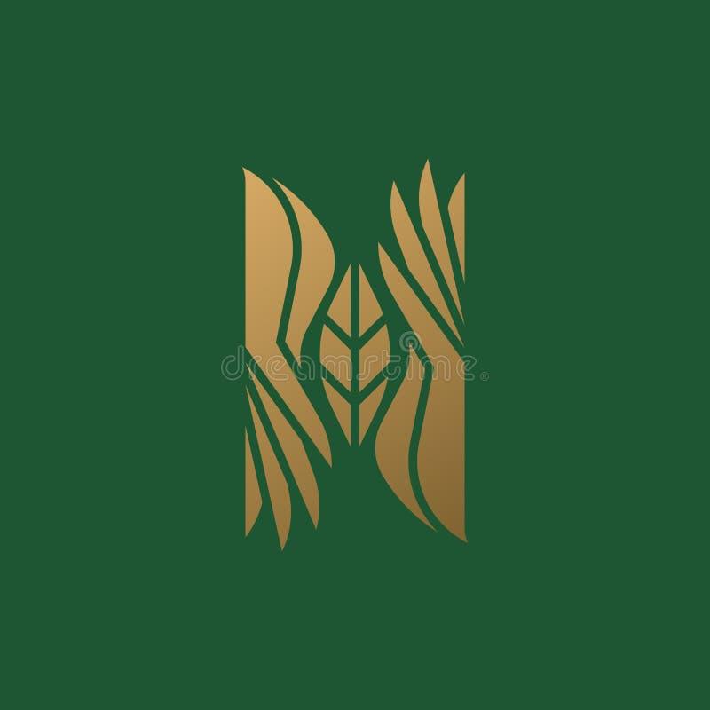 Calibre ou icône de marque de logo avec deux mains et feuille élégante sur le fond vert illustration libre de droits