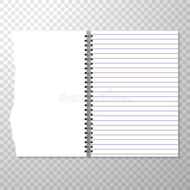 Calibre ouvert de carnet avec la page rayée et vide Morceau de papier déchiré de carnet à spirale Pages propres ou vides illustration de vecteur