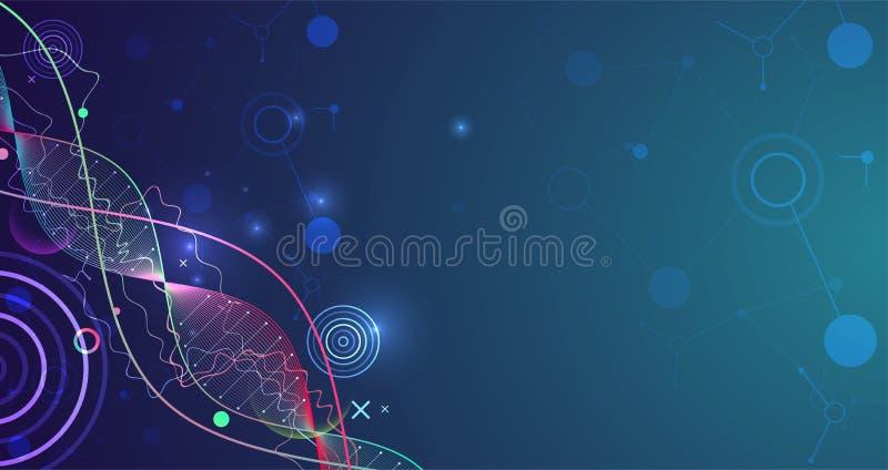 Calibre, papier peint ou bannière de la Science avec des molécules d'une ADN illustration de vecteur