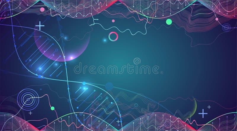 Calibre, papier peint ou bannière de la Science avec des molécules d'une ADN illustration stock