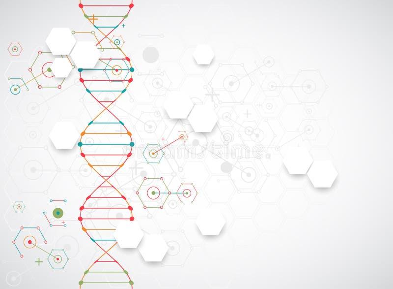 Calibre, papier peint ou bannière de la Science avec des molécules d'une ADN illustration libre de droits