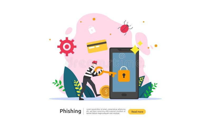 calibre phishing de page d'atterrissage de concept d'attaque de mot de passe heacker volant la s?curit? personnelle d'Internet av illustration stock
