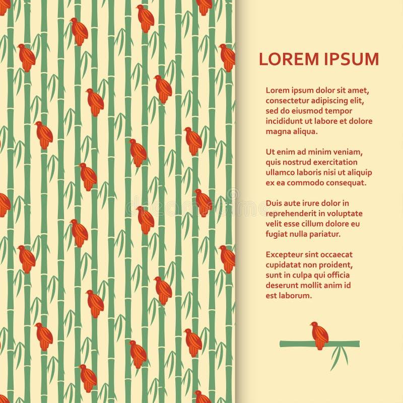 Calibre plat d'affiche ou de bannière avec des moineaux se reposant sur le bambou illustration de vecteur