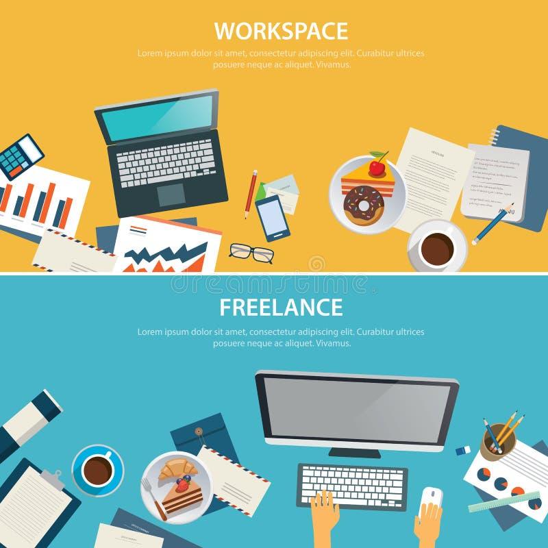Calibre plat d'espace de travail et de conception de bannière indépendante illustration de vecteur