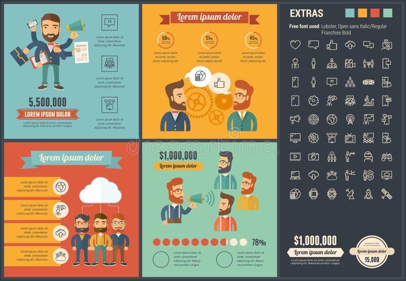 Calibre plat d'Infographic de conception de media social illustration de vecteur