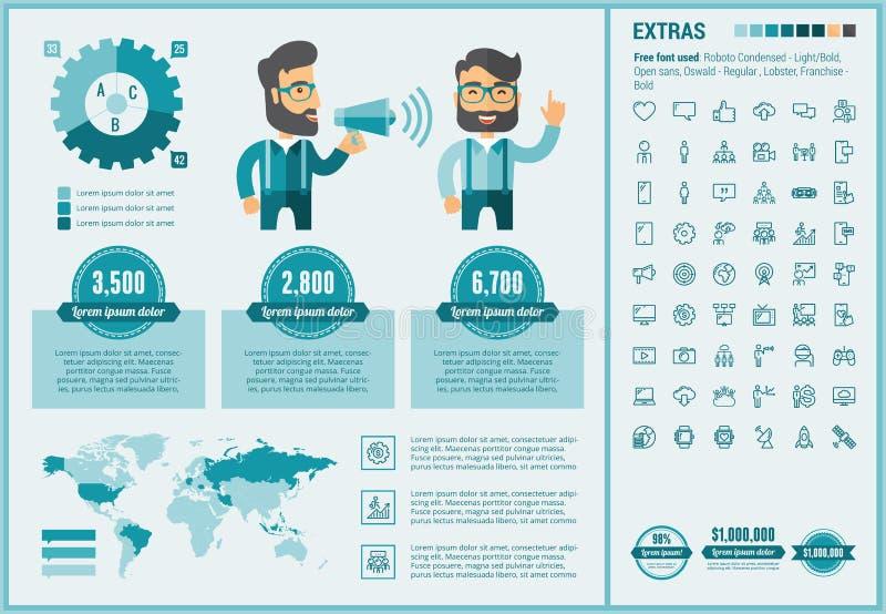 Calibre plat d'Infographic de conception de media social illustration libre de droits