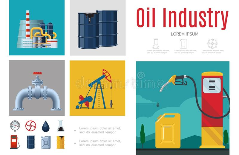 Calibre plat d'Infographic d'industrie pétrolière  illustration stock