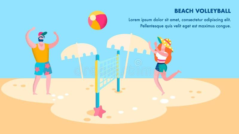 Calibre plat de bannière de concurrence de volleyball de plage illustration libre de droits