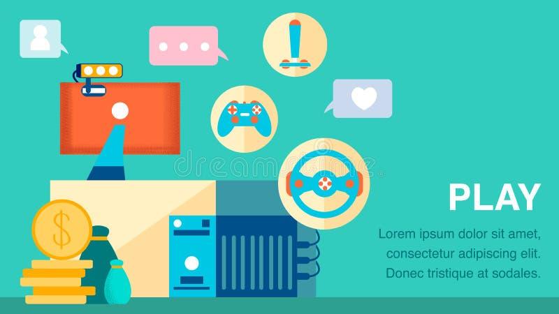 Calibre plat de bannière de couleur de Games Industry d'ordinateur illustration libre de droits
