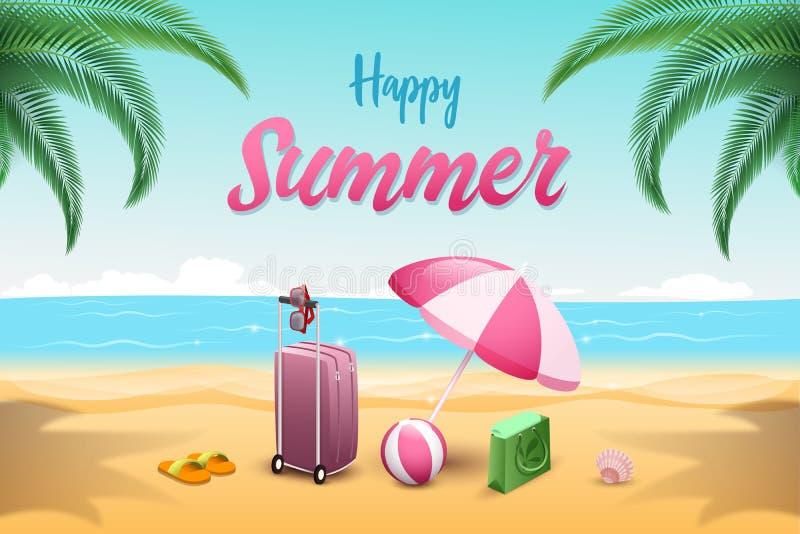 Calibre plat de bannière de vecteur de vacances d'été Bagage de touristes avec le parapluie, boule, bascules électroniques sur la illustration de vecteur