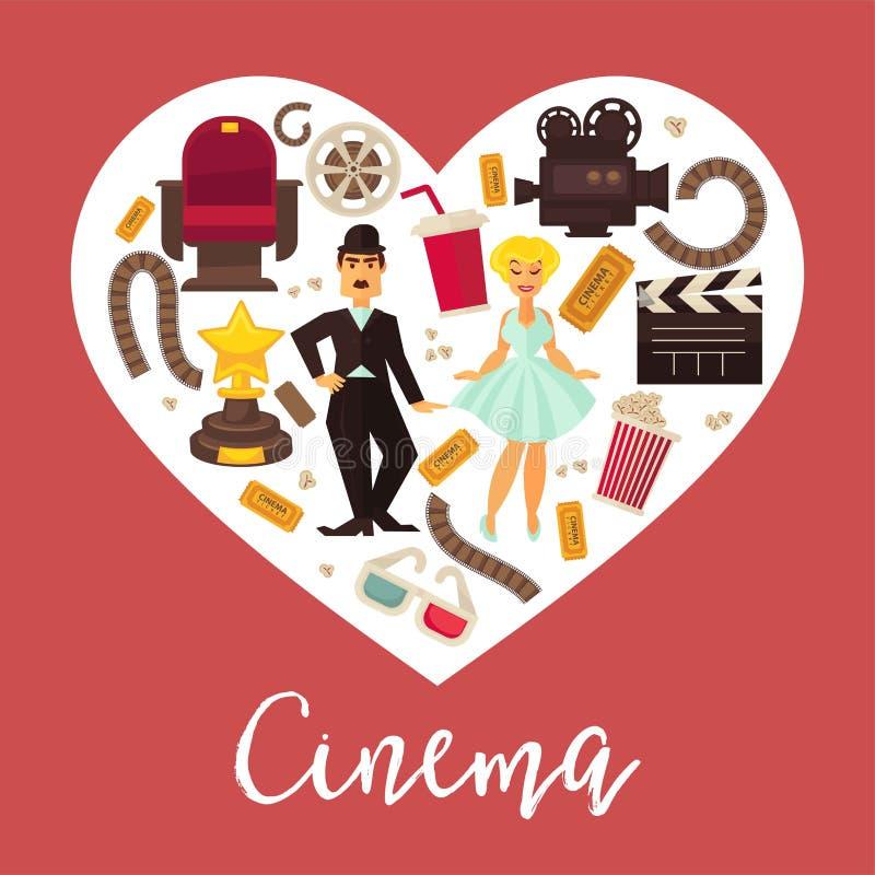 Calibre plat de conception de cinématographie de coeur de rétro de cinéma de film vecteur d'affiche illustration stock
