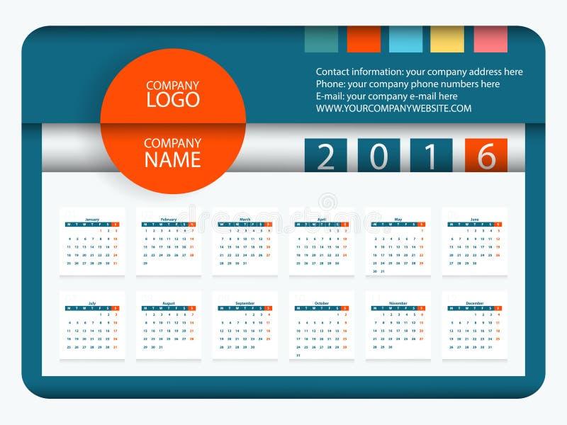 Calibre plat de conception de vecteur du calendrier 2016 illustration de vecteur