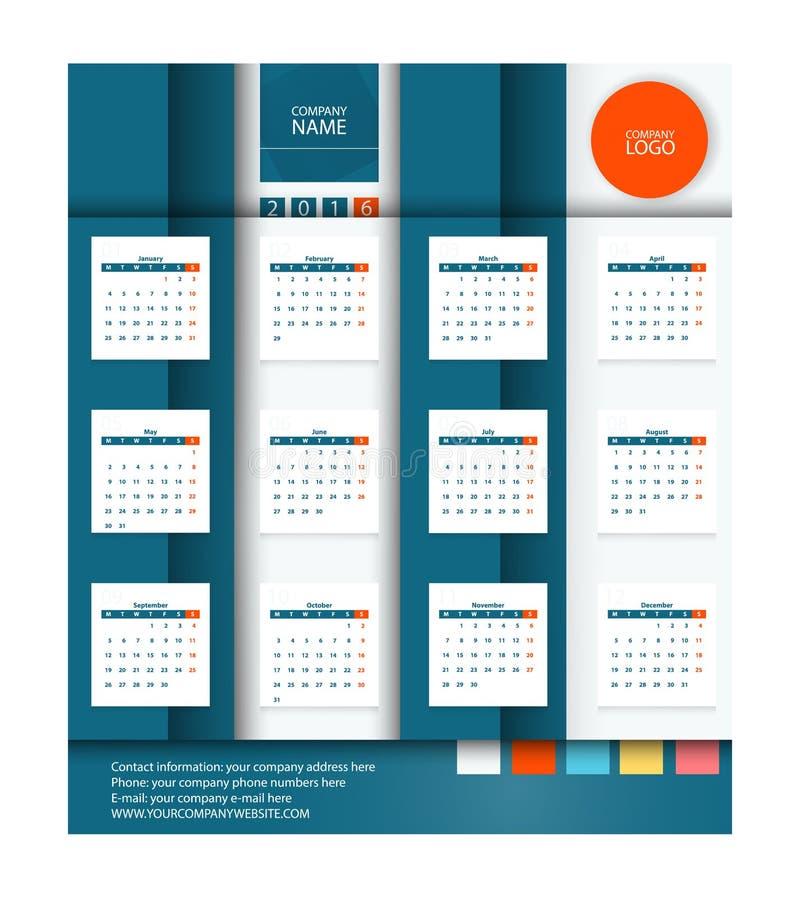 Calibre plat de conception de vecteur du calendrier 2016 Place stylisée illustration de vecteur
