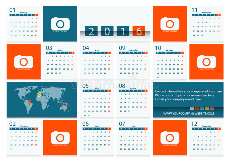 Calibre plat de conception de vecteur du calendrier 2016 pour une compagnie de voyage illustration stock