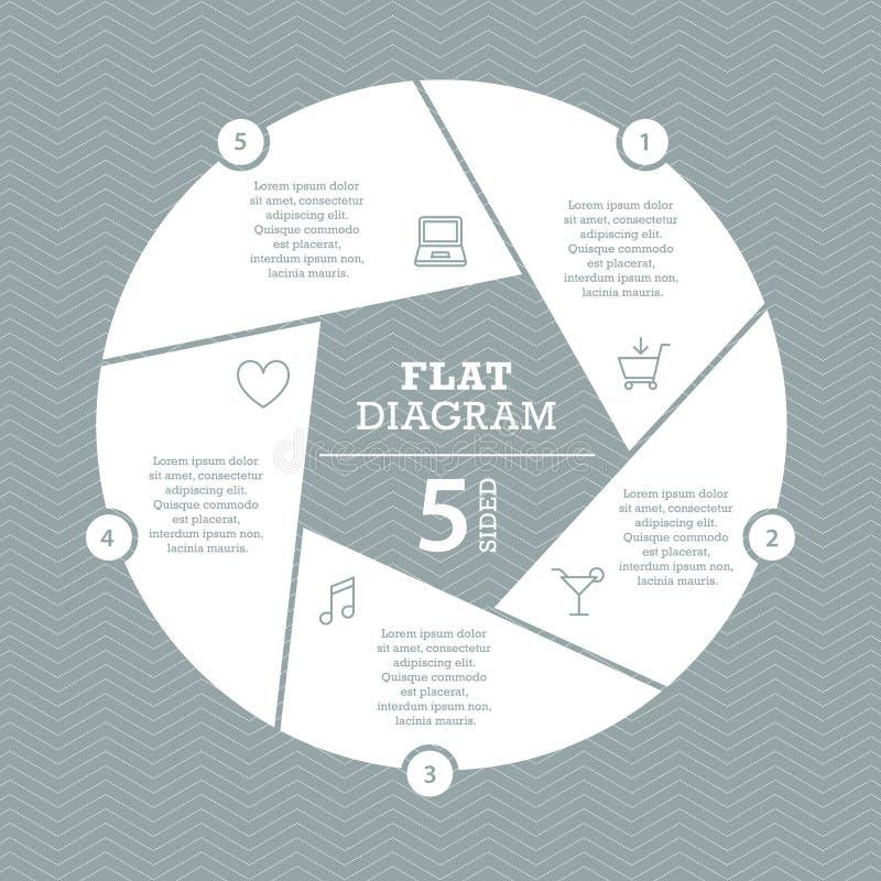 Calibre plat de diagramme de volet pour votre présentation d'affaires avec des secteurs et des icônes des textes illustration de vecteur