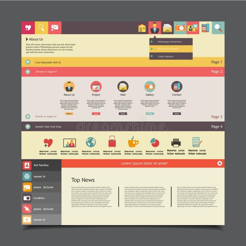 Calibre plat de site Web de vecteur pour des affaires illustration stock