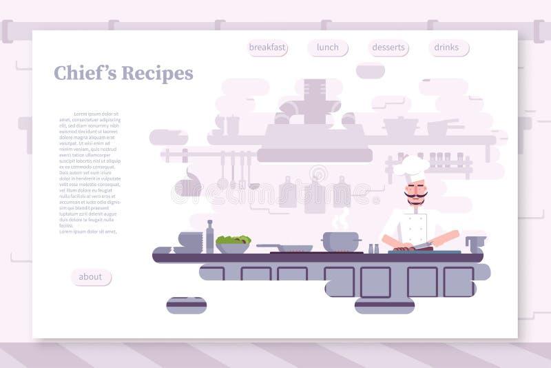 Calibre plat de vecteur de page d'atterrissage de couleur de restaurant illustration stock