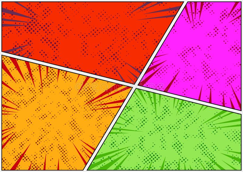 Calibre pointillé coloré lumineux de page d'histoire de style de bande dessinée illustration de vecteur
