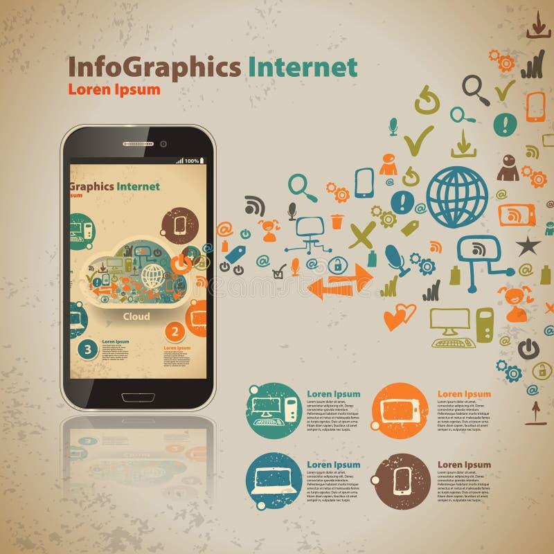 Calibre pour infographic pour la techno d'ordinateur de nuage illustration libre de droits