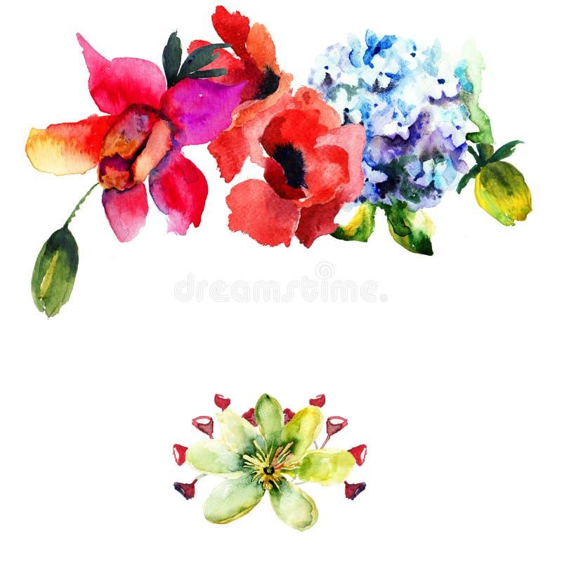 Calibre pour la carte avec avec la belle fleur d'hortensia et de pavot illustration de vecteur