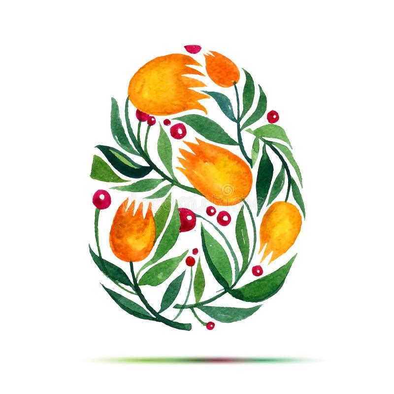Calibre pour la carte de voeux ou l'invitation de Pâques Joyeuses Pâques ! Oeuf de tulipes de fleur d'aquarelle illustration libre de droits