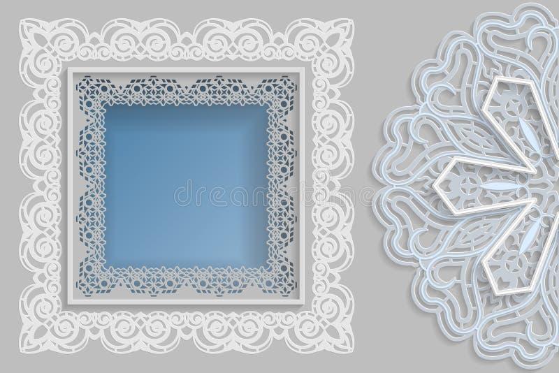 Calibre pour la conception - cadre carré avec des bords de dentelle et mandala 3D du côté Calibre pour félicitations les épousant illustration libre de droits