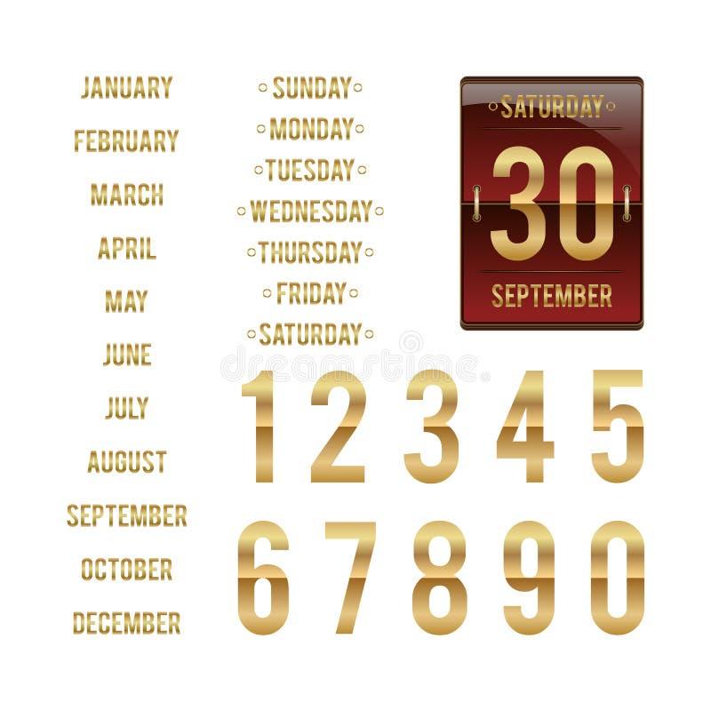 Calibre pour le calendrier quotidien de secousse illustration de vecteur