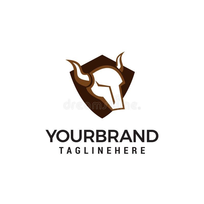 Calibre principal de concept de construction de logo de bouclier de taureau illustration de vecteur