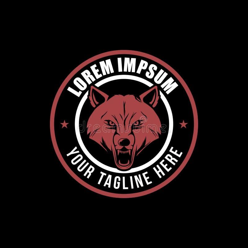 Calibre principal de logo d'insigne de vecteur de loup agressif illustration libre de droits
