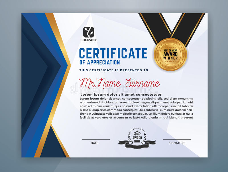 Calibre professionnel moderne de certificat illustration stock