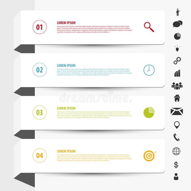 Calibre propre de bannières de conception Vecteur d'Infographics avec des icônes illustration de vecteur