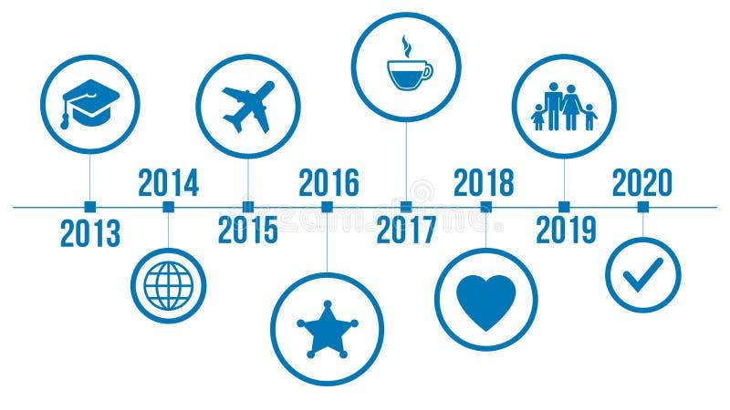 Calibre propre moderne de chronologie de style d'affaires avec des icônes Vecteur peut être employé pour la disposition de déroul illustration stock