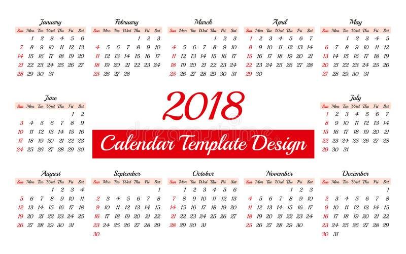 Calibre quotidien de planificateur du calendrier 2018 illustration libre de droits