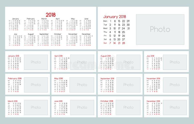 Calibre quotidien de planificateur du calendrier 2018 illustration de vecteur