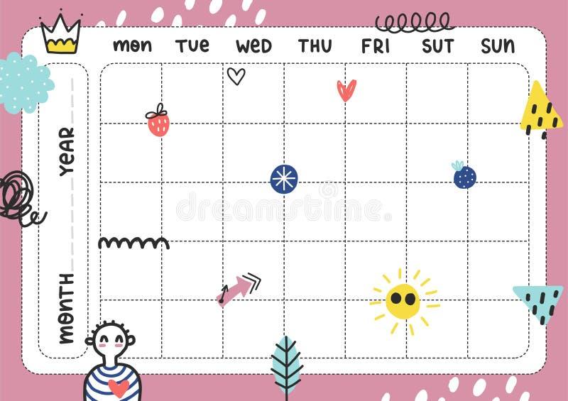 Calibre quotidien de planificateur illustration stock