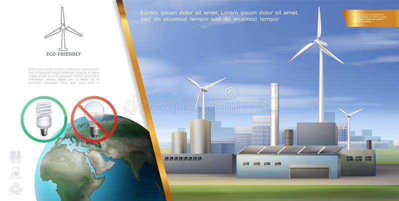 Calibre réaliste d'énergie d'écologie illustration de vecteur