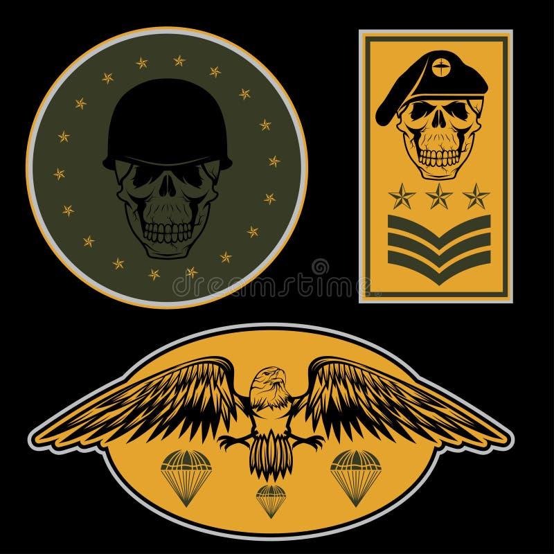 calibre réglé de conception de vecteur d'emblème militaire illustration de vecteur