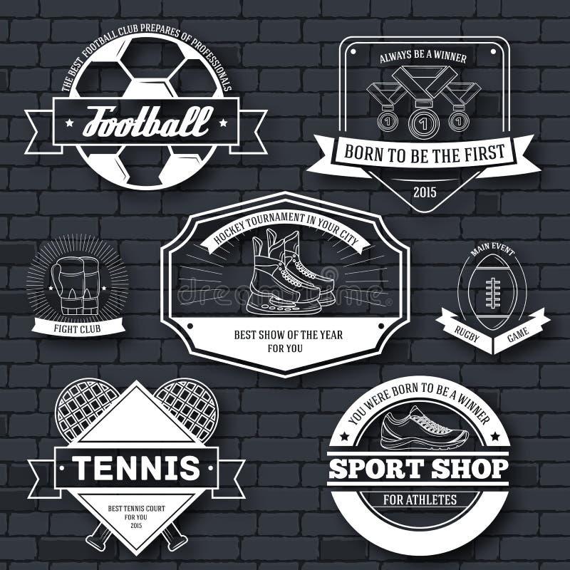 Calibre réglé de label de sport d'élément d'emblème pour votre produit, emblème, logo ou conception, Web et applications mobiles  illustration stock