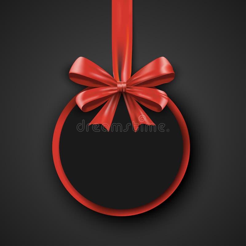 Calibre rond de conception d'anniversaire Bannière d'invitation avec le ruban rouge d'arc Affiche de promotion de vacances Noir d illustration de vecteur