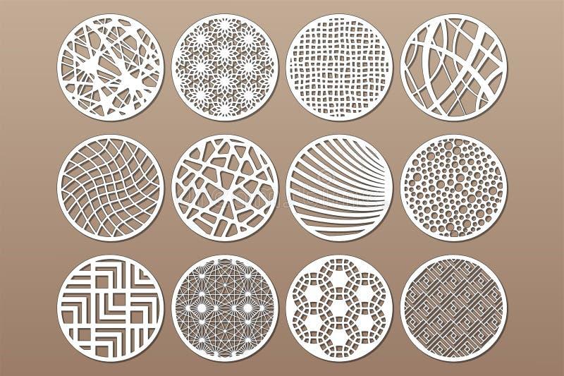 Calibre rond réglé pour la coupure Ligne abstraite, modèle géométrique Coupe de laser Placez le 1:2 de rapport Illustration de ve illustration de vecteur